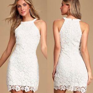 Lulus | 'Love Poem' Floral Ivory Lace Mini Dress